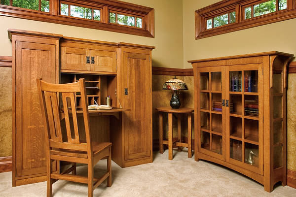 Mission Secretary Desk, Tea Table & Bookcase