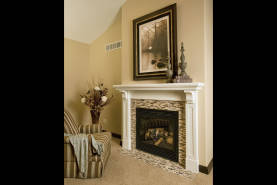 Painted White Mantel With Tile - Large