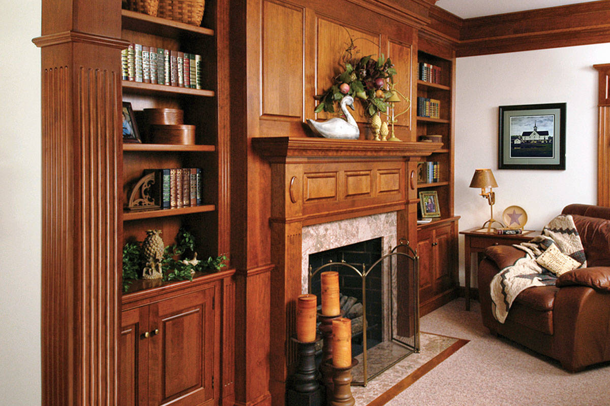 Den Bookshelf with Fireplace
