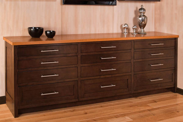 Birch Credenza With Teak Top