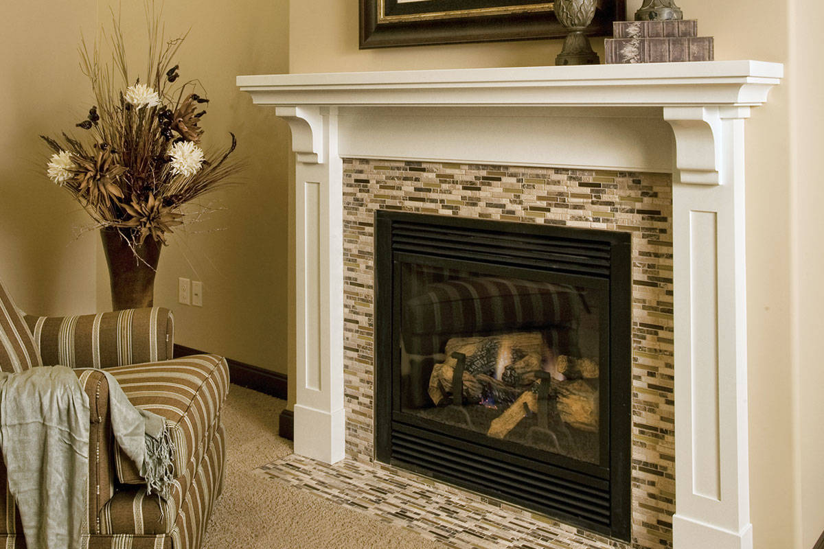 Painted White Mantel With Tiles