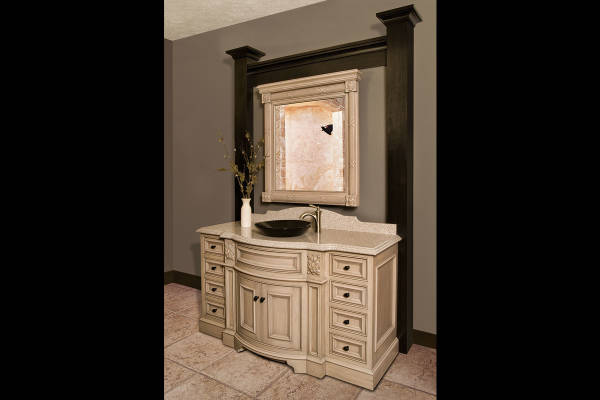 White Curved Vanity