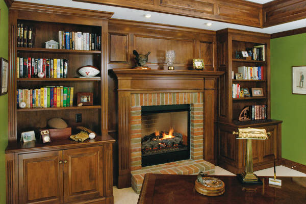 Walnut Den - Wall Fireplace